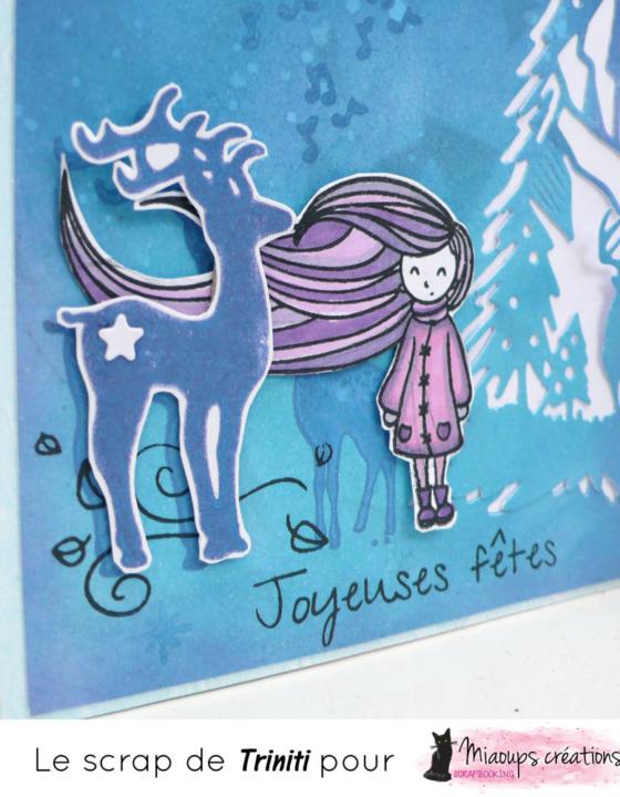 Carte fille Joyeuses fêtes pour Miaoups Créations