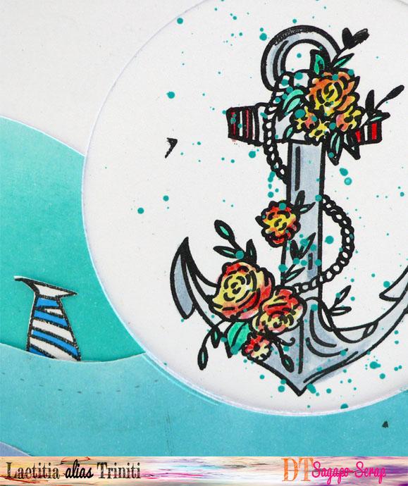 thème marin avec une ancre colorisée à l'aquarelle
