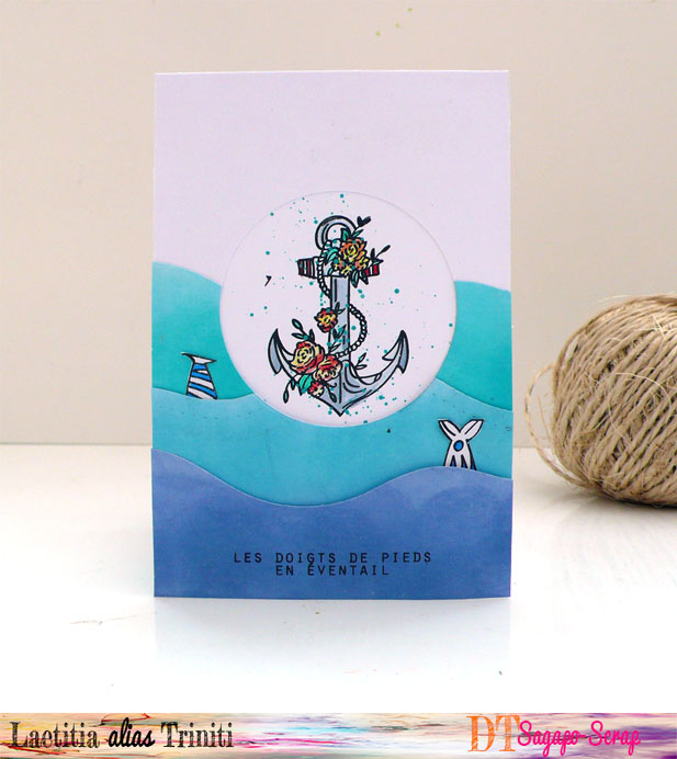 thème marin avec fond de carte réalisée avec les Distress Oxide