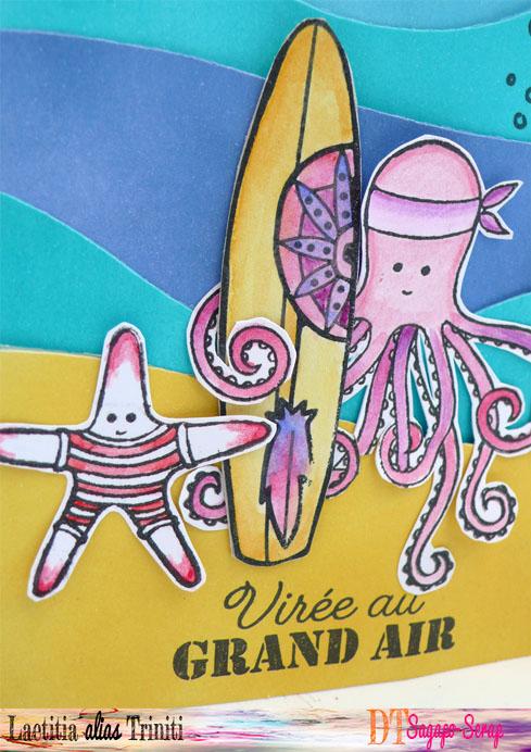 Détail carte thème marin avec pieuvre et étoile de mer